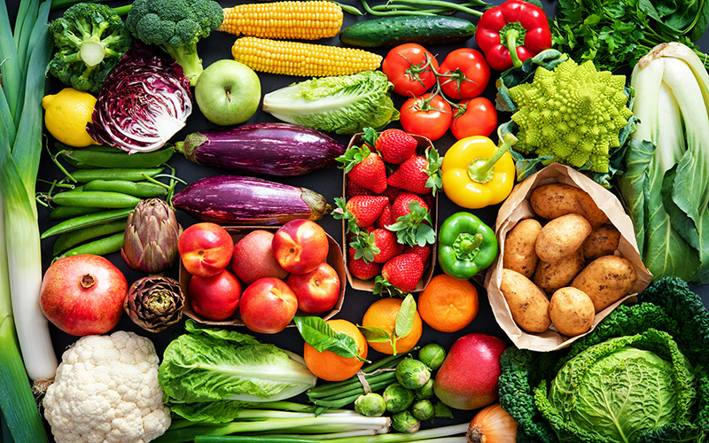 photo of vegetables from above - vegetables are an example of alkaline foods