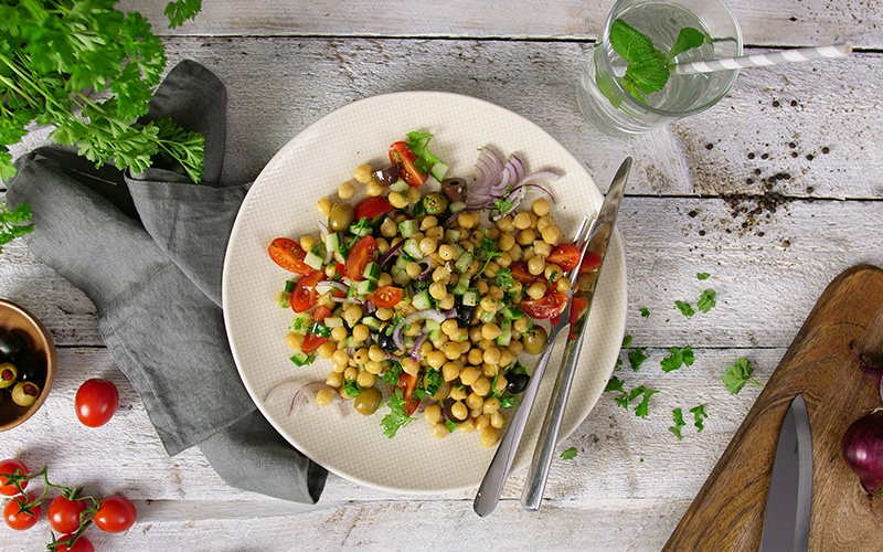 a plate of high protein vegan foods for health