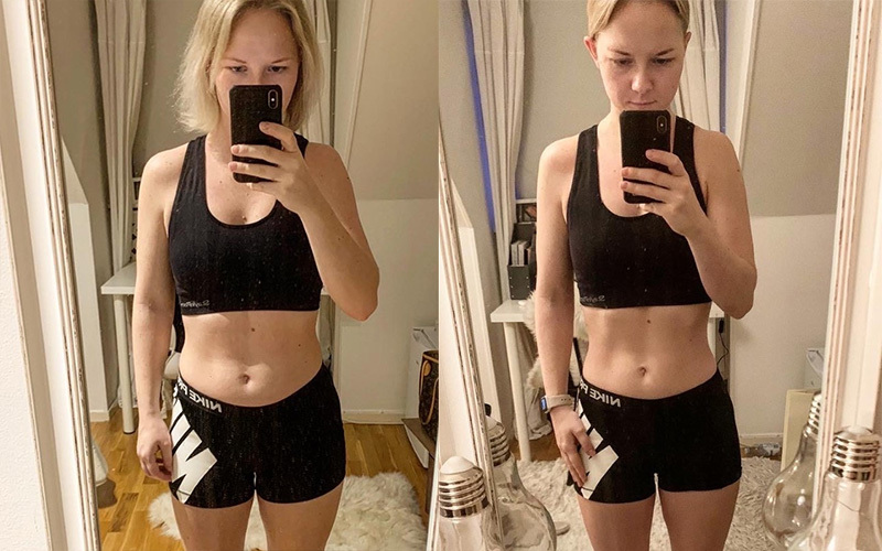 A before and after collage of selfies from Nathalie, a white woman wearing a sports bra and black shorts. In the right-hand, afterwards image, her stomach is tighter and the muscles more defined.