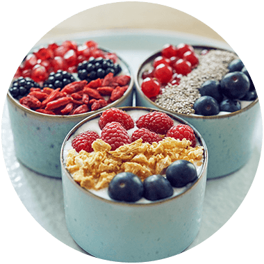 Fruit bowls with goji berries
