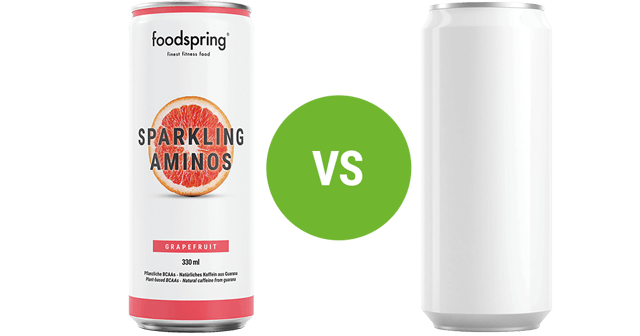 foodspring Sparkling Aminos vs. conventional energy drinks