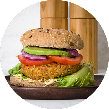 Protein Veggie Burger with Protein Flakes.